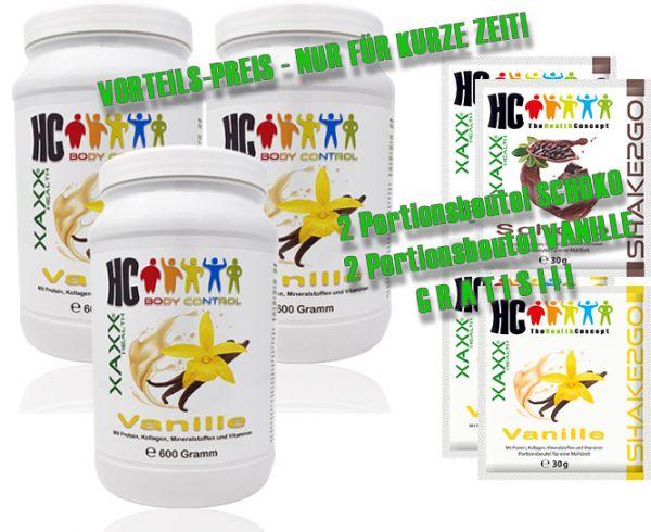 HC BODY CONTROL SHAKE VANILLE 600g 20 Mahlzeiten 3er-Set inkl. je 2 x SHAKE2GO SCHOKO / VANILLE