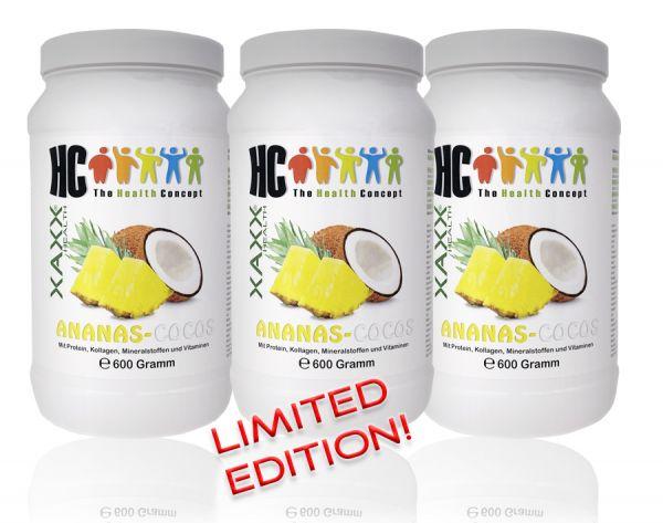 HC BODY CONTROL SHAKE ANANAS COCOS 600g 20 Mahlzeiten 3er-Set