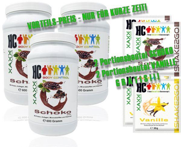 HC BODY CONTROL SHAKE SCHOKO 600g 20 Mahlzeiten 3er-Set inkl. je 2 x SHAKE2GO SCHOKO / VANILLE